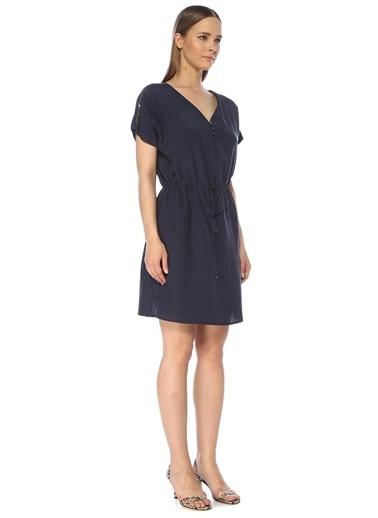 NetWork Kadın 1075258 V Yaka Beli Büzgülü Midi Elbise İndigo